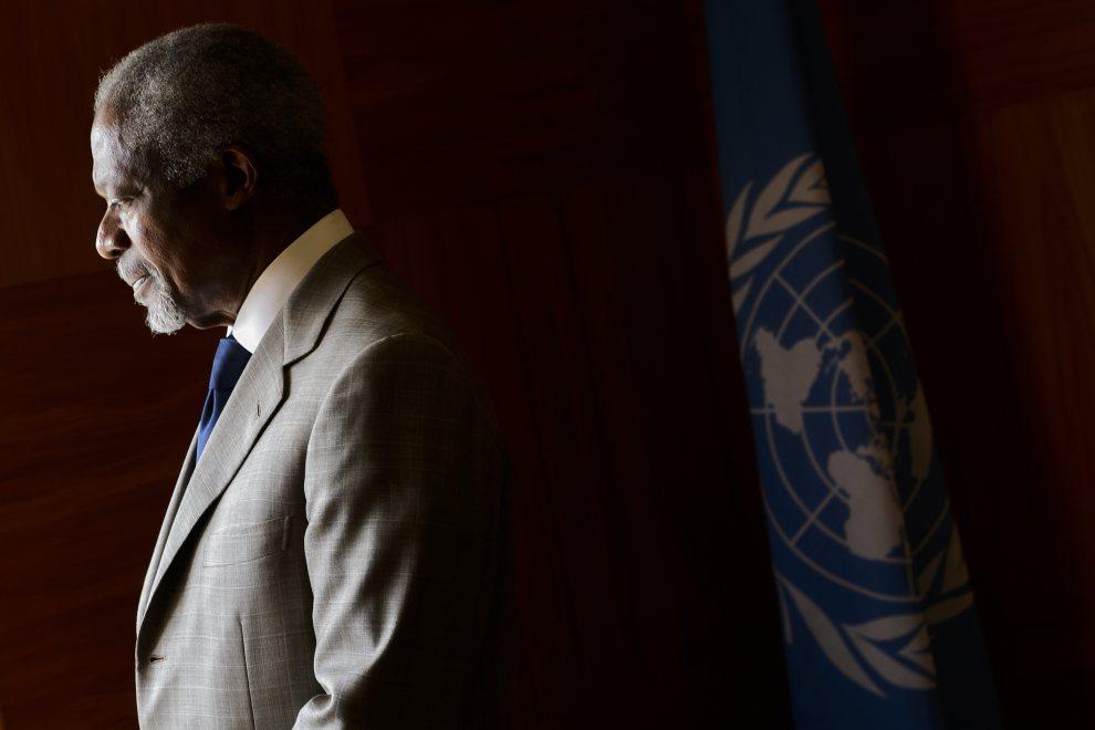 27.SZWAJCARIA, Genewa, 20 licpa 2012: Kofi Annan niezadowolony z przebiegu rozmów w sprawie zakończenia działań wojennych w Syrii. AFP PHOTO / FABRICE COFFRINI