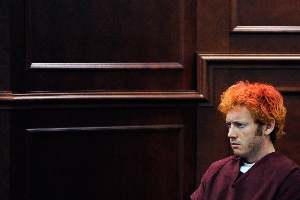 29.USA, Centennial, 23 lipca 2012: James Holmes podczas rozpoczęcia procesu w sprawie strzelaniny w trakcie której zginęło 12 osób, a 58 zostało rannych. (Foto: RJ Sangosti-Pool/Getty Images)