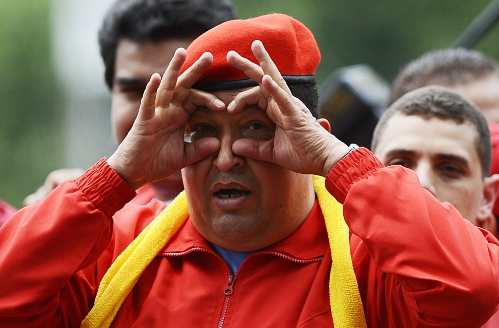 2.WENEZUELA, Mariara, 1 lipca 2012: Hugo Chavez na wiecu rozpoczynającym kampanię prezydencką. AFP PHOTO/JUAN BARRETO