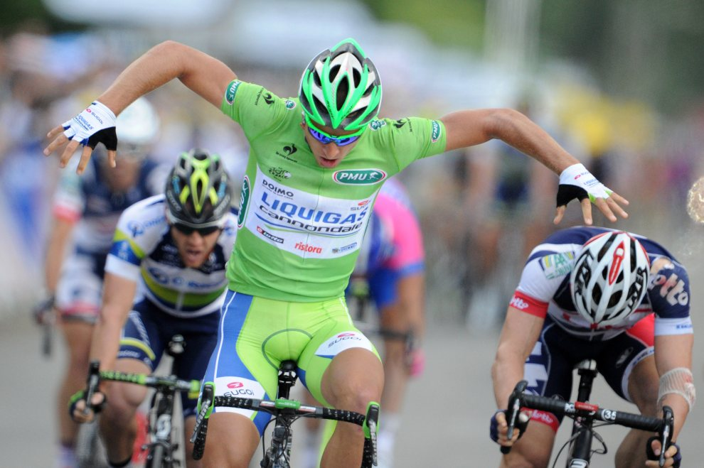 39.FRANCJA, Metz, 6 lipca 2012: Słowak Peter Sagan cieszy się ze zwycięstwa w szóstym etapie wyścigu Tour de France. AFP PHOTO / PASCAL PAVANI