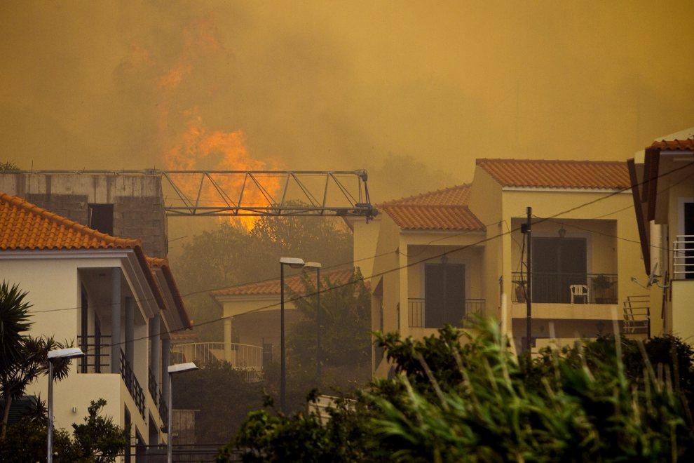 7.PORTUGALIA, Gaula, 19 lipca 2012: Domy zagrożone przez ogień w okolicach miejscowości  Gaula. AFP PHOTO/ GREGORIO CUNHA