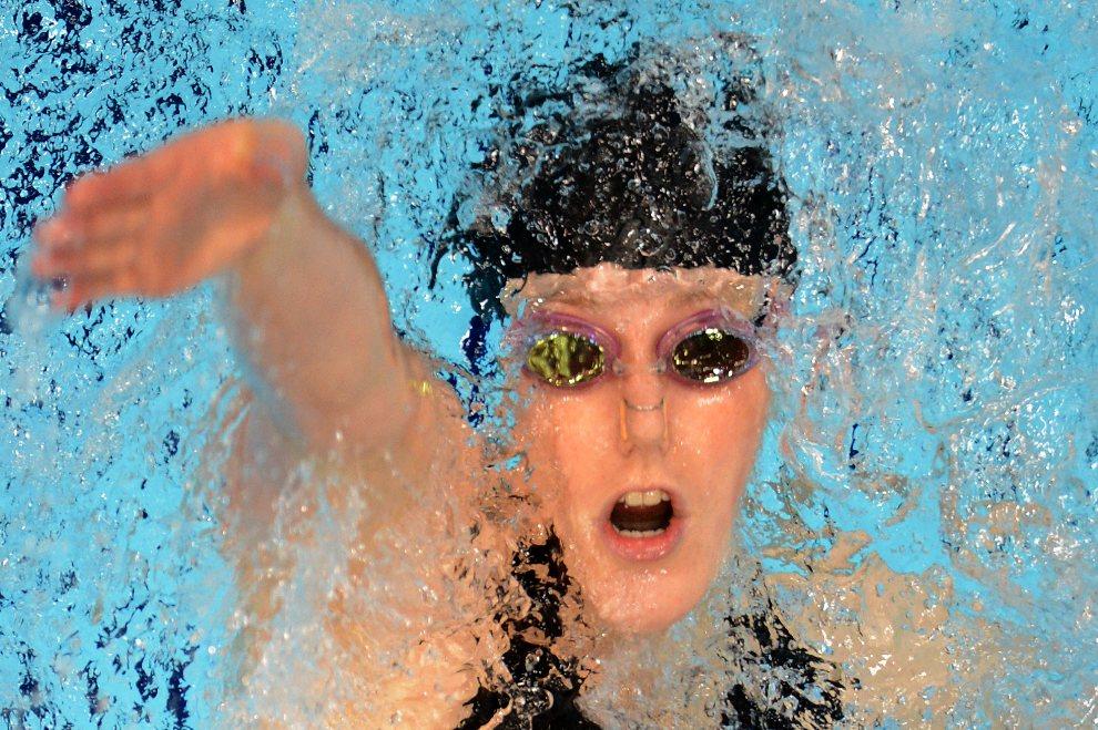 33.WIELKA BRYTANIA, Londyn, 3 sierpnia 2012: Missy Franklin (USA) w trkacie wyścigu stylem grzbietowym. AFP PHOTO / FRANCOIS XAVIER MARIT