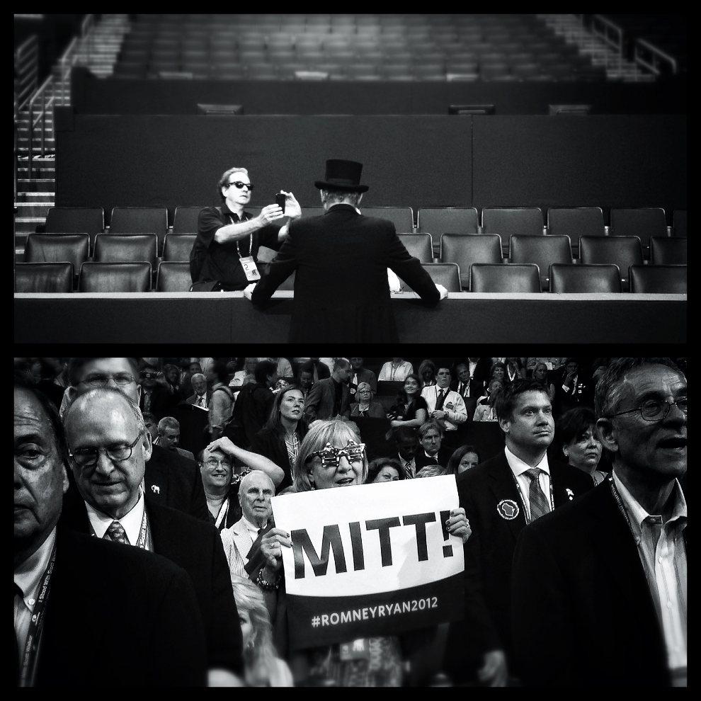 10.USA, Tampa, 28 sierpnia 2012: Zdjęcie górne: Mark Peterson fotografuje George'a Engelbacha przebranego za Abrachama Lincolna. Zdjęcie dolne:  Kobieta   popierająca kandydaturę Mitt'a Romney'a. (Foto: Chip Somodevilla/Getty Images)