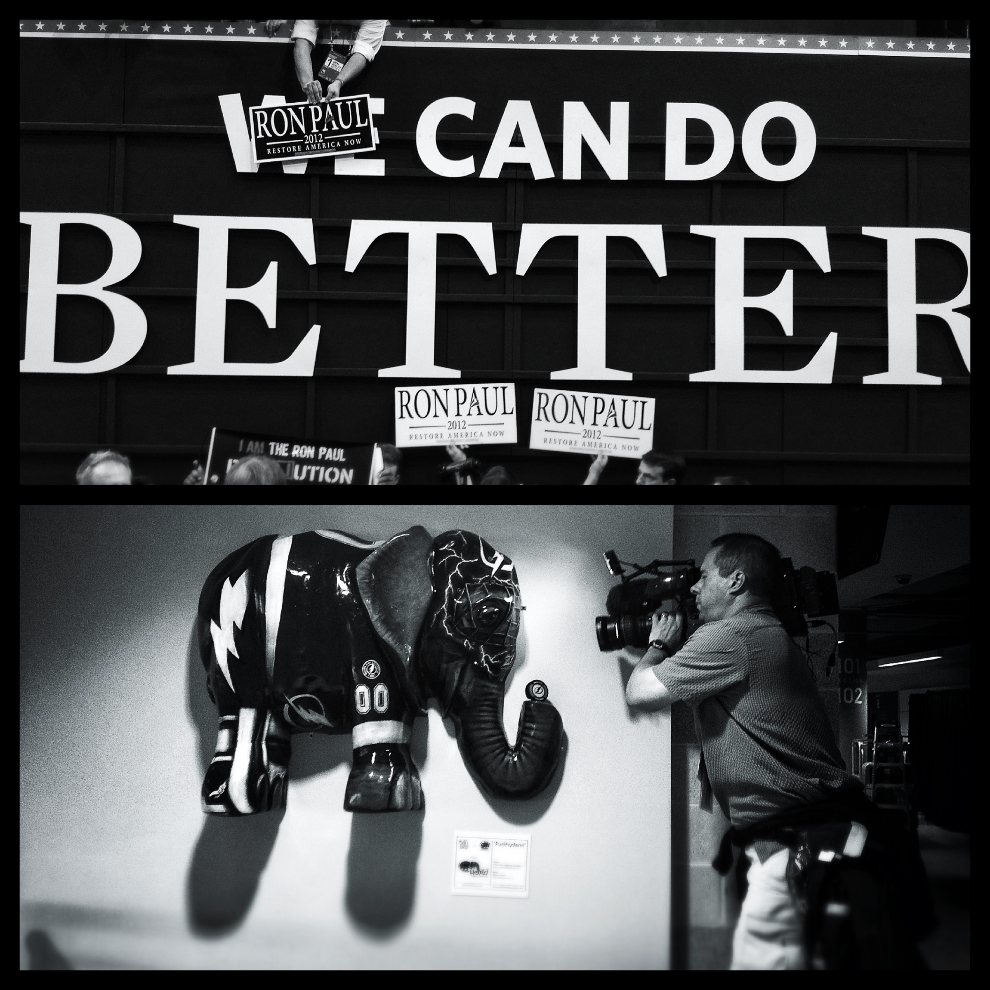 12.USA, Tampa, 27 sierpnia 2012: Zdjęcie górne: Zwolennicy Rona Paul'a. Zdjęcie dolne: Kamerzysta filmuje symbol Partii Republikańskiej. (Foto: Chip   Somodevilla/Getty Images)