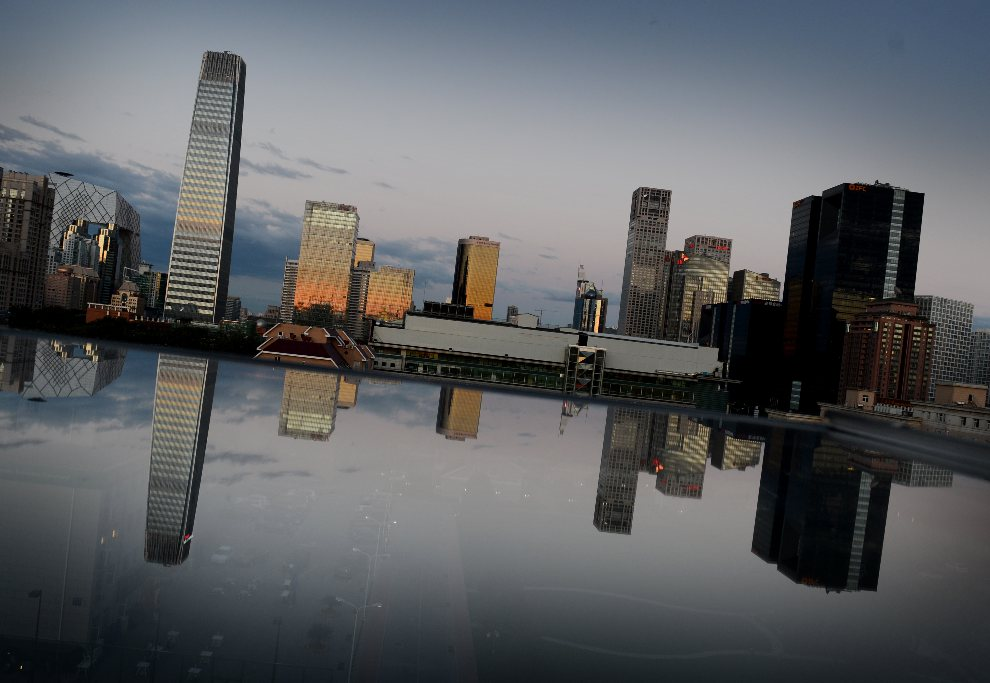 23.CHINY, Pekin, 3 września 2012: Panorama centrum biznesowego w Pekinie. AFP PHOTO/Mark RALSTON
