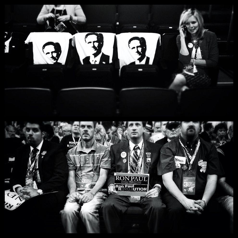 8.USA, Tampa, 30 sierpnia 2012: Zdjęcie górne: Koszulki z podobizną Mitta Romney'a rozłożone na oparciach krzeseł. Zdjęcie dolne: Mężczyzna popierający   kandydaturę Rona Paul'a (chwilę później został poproszony przez ochronę o odłożenie tabliczki).(Foto: Chip Somodevilla/Getty Images)