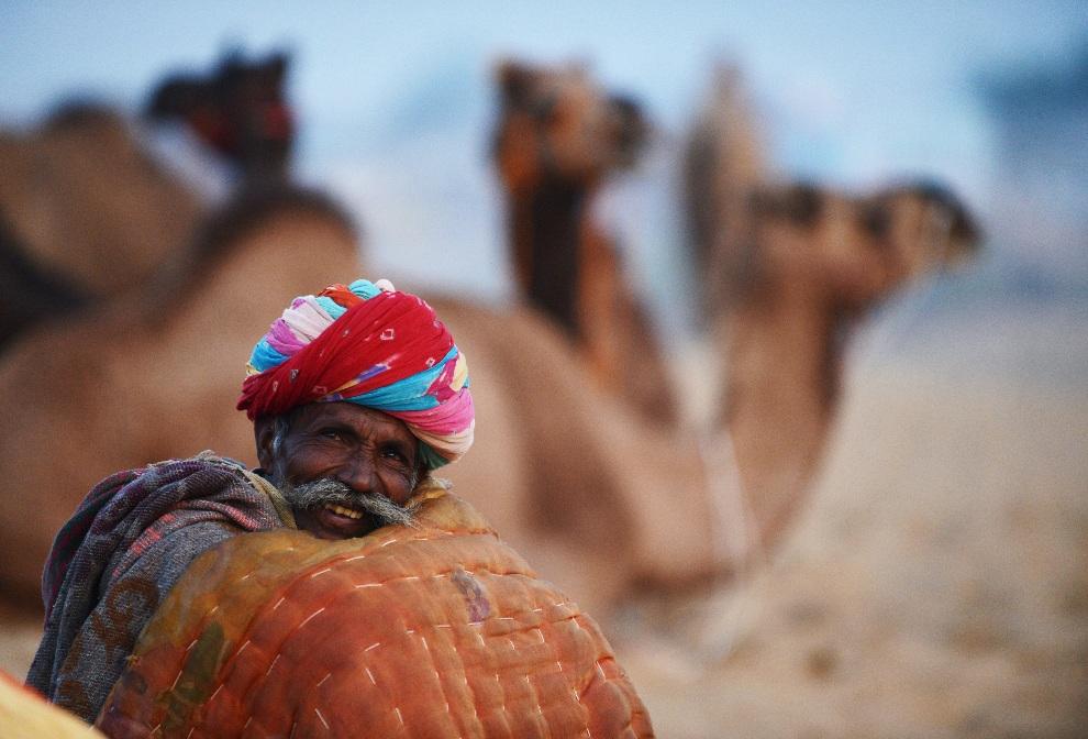 14.INDIEA, Puszkar, 21 listopada 2012: Sprzedawca wielbłądów otulony kocem. AFP PHOTO/Roberto Schmidt