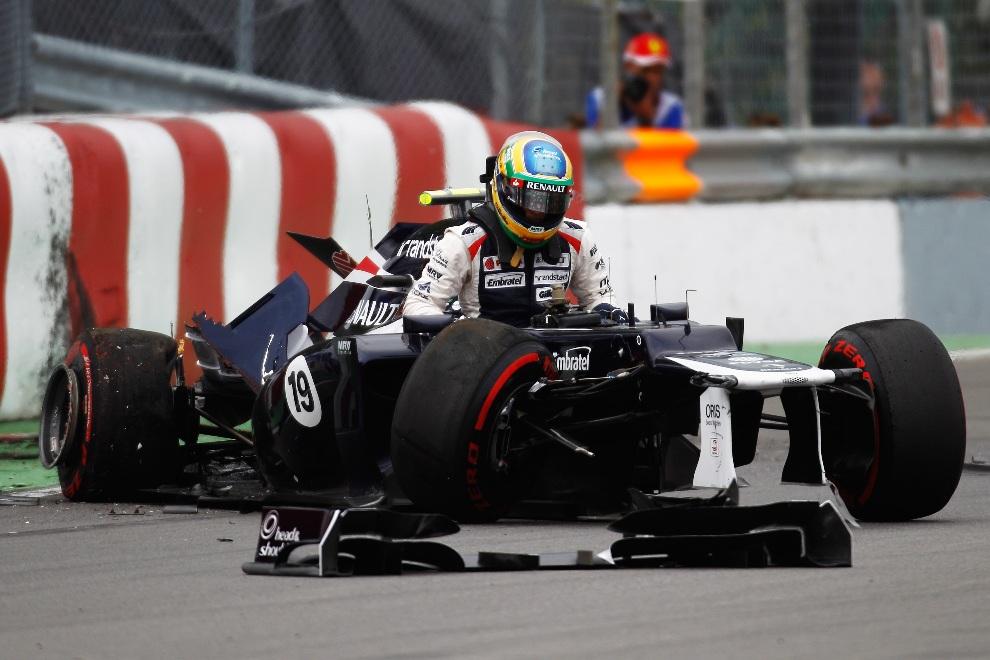 19.KANADA, Montreal, 8 czerwca 2012: Bruno Senna (Williams) w bolidzie rozbitym na ostatnim zakręcie. (Foto: Paul Gilham/Getty Images)