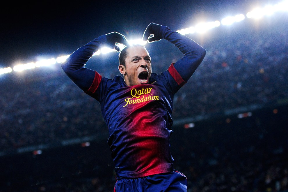 31.HISZPANIA, Barcelona, 1 grudnia 2012: Adriano Correia cieszy się ze zdobytego gola. (Foto: David Ramos/Getty Images)