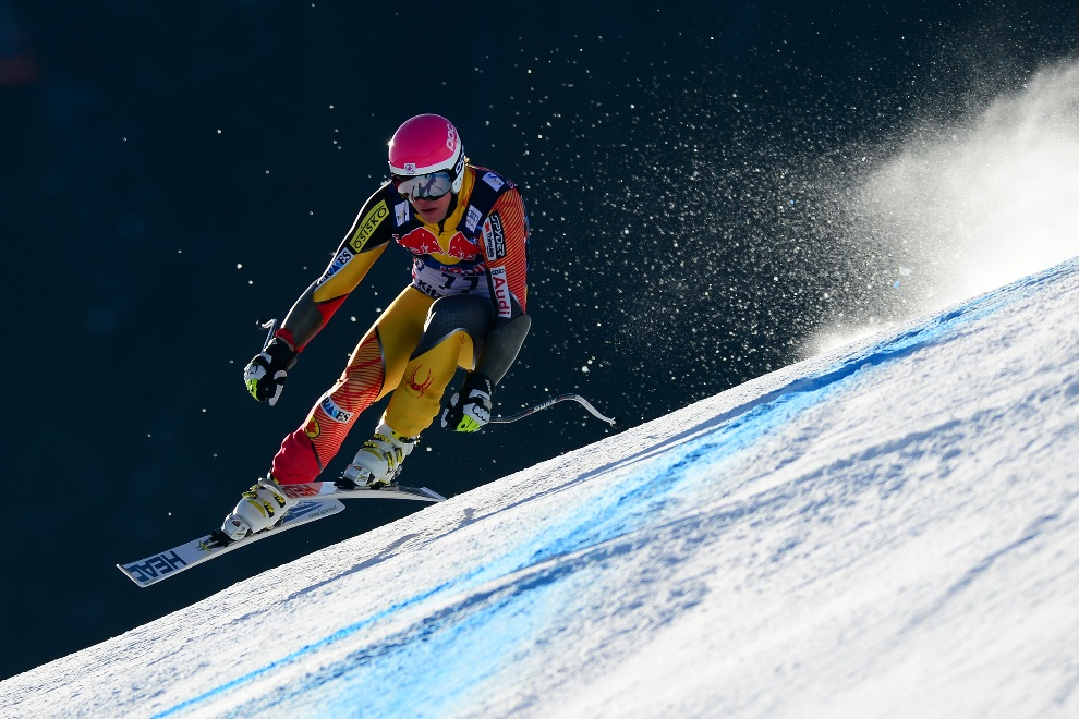 22.AUSTRIA, Kitzbuehel, 24 stycznia 2013: Kanadyjczyk Benjamin Thomsen podczas treningu w Kitzbuehel. AFP PHOTO / OLIVIER MORIN
