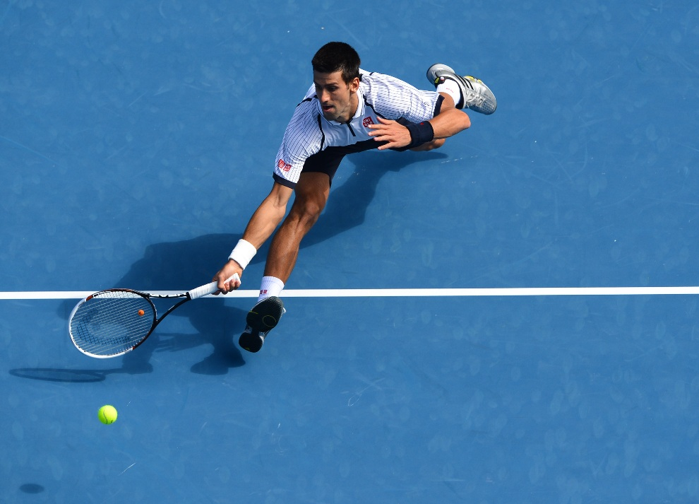 24.AUSTRALIA, Melbourne, 18 stycznia 2013: Serb Novak Djokovic podczas pojedynku z Radkiem Stepankiem. AFP PHOTO/WILLIAM WEST