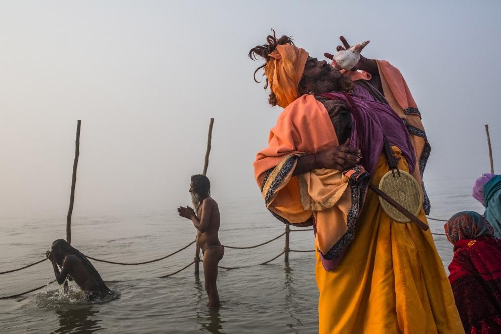 5. INDIE, Allahabad, 18 stycznia 2013: Sadhu dmący w muszlę w trakcie procesji  z okazji Kumbhamela. (Foto: Daniel Berehulak/Getty Images)
