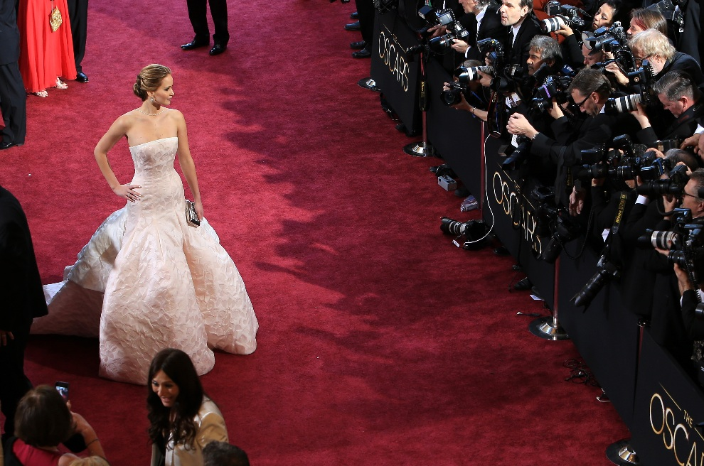 4.USA, Hollywood, 24 lutego 2013: Jennifer Lawrence pozuje dla fotoreporterów. (Foto: Gerard McGovern/Getty Images)