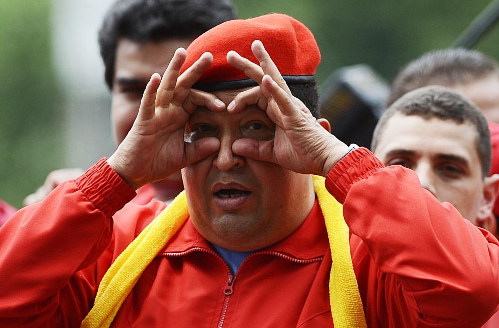 19.WENEZUELA, Mariara, 1 lipca 2012: Hugo Chavez podczas rozpoczęcia kampanii reelekcyjnej. AFP PHOTO/JUAN BARRETO