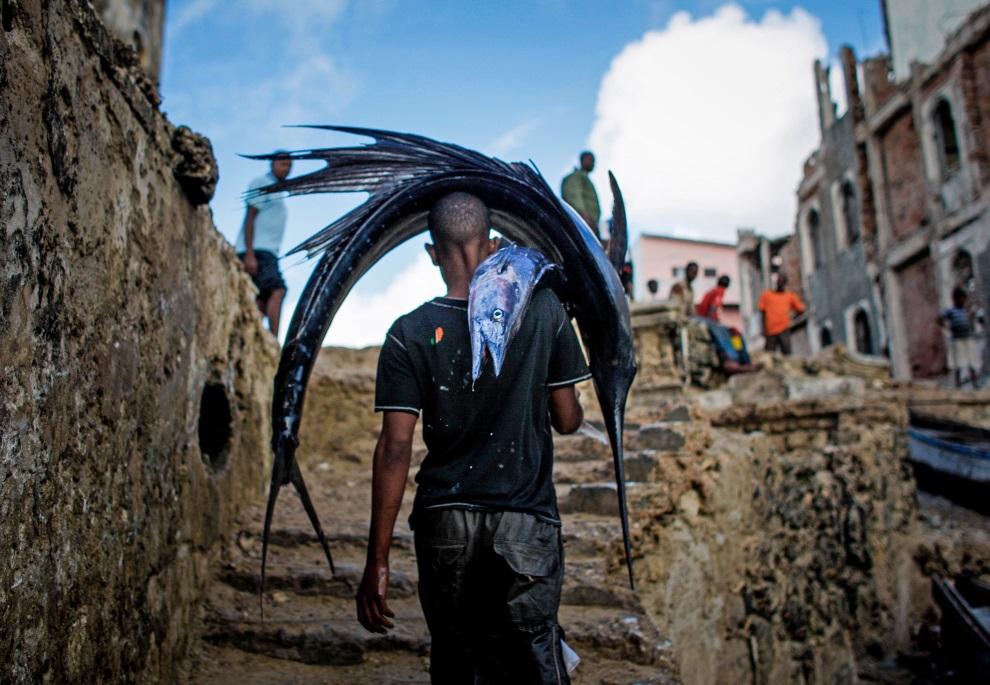 22.SOMALIA, Mogadiszu, 16 marca 2013: Mężczyzna wychodzi z portu ze złowionymi rybami. AFP PHOTO / AU-UN IST PHOTO / STUART PRICE