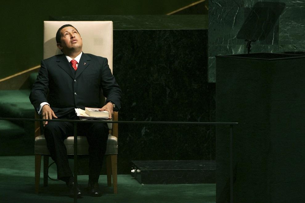30.USA, Nowy Jork, 20 września 2006: Hugo Chavez przed wystąpieniem na formum ONZ. (Foto: Spencer Platt/Getty Images)