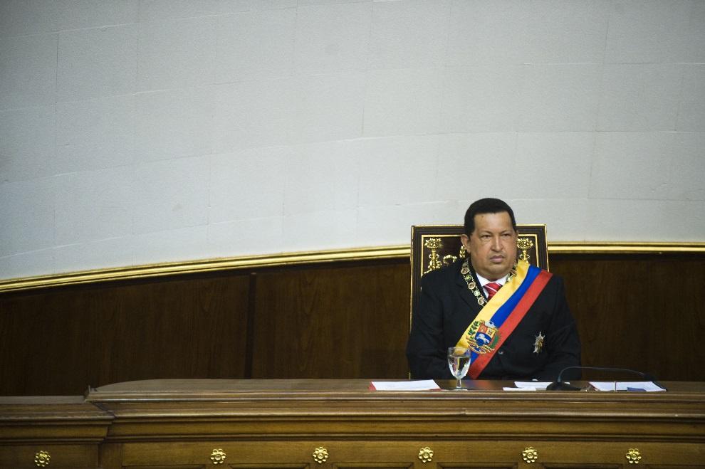 5.WENEZUELA, Caracas, 5 lipca 2012: Hugo Chavez podczas posiedzenia parlamentu w dniu niepodległości. AFP Photo/Leo RAMIREZ