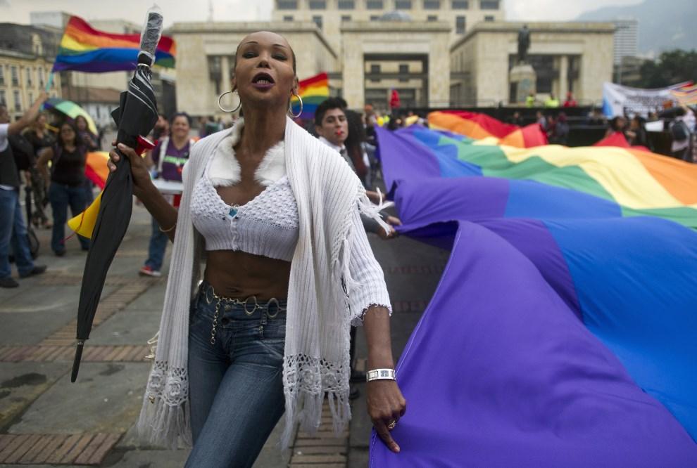 12.KOLUMBIA, Bogotá, 23 kwietnia 2013: Protestujący aktywiści środowisk LGTB.