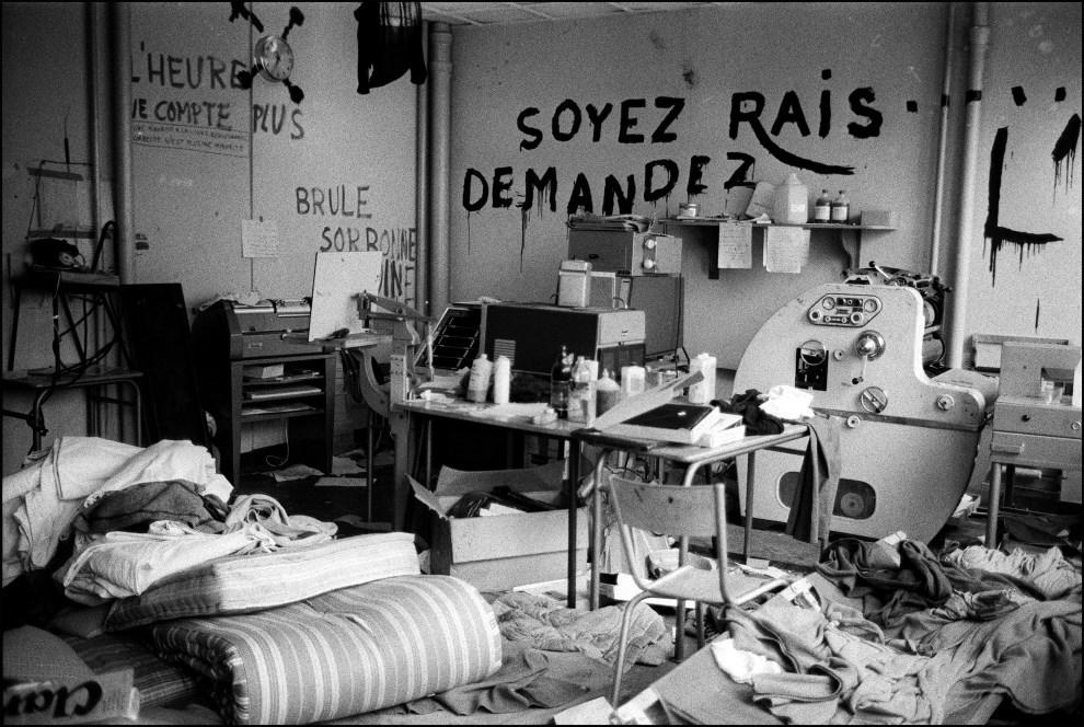 38. FRANCJA, Paryz, 6 lipca 1968: Opuszczona drukarnia zorganizowana przez studentów jednego z akademików. AFP