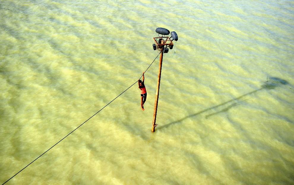 22.INDIE, Allahabad, 6 sierpnia 2013: Chłopak zwisający z linii elektrycznej przed skokiem do wody. AFP FOTO: / SANJAY KANOJIA