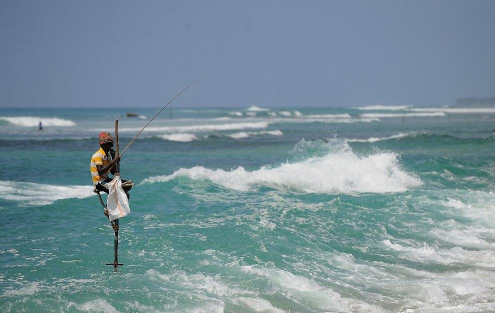 19.SRI LANKA, Galle, 12 lutego 2014: Rybak podczas pracy u wybrzeży  Galle. AFP PHOTO/Ishara S. KODIKARA