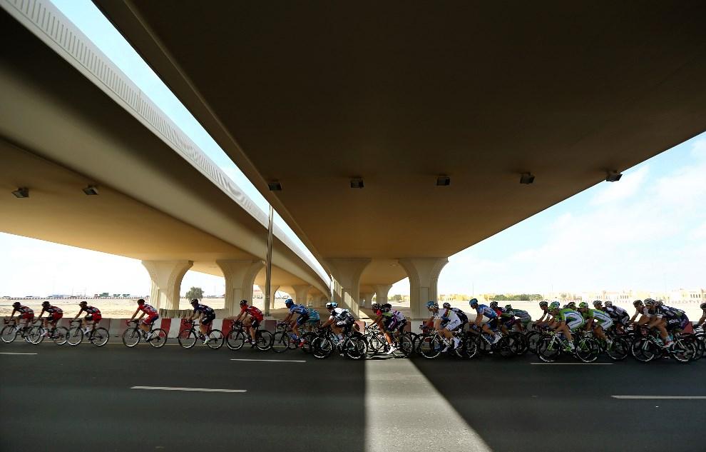 24. ZEA, Dubaj, 6 lutego 2014: Kolarze na trasie Dubai Cycling Tour 2014. AFP PHOTO / MARWAN NAAMANI