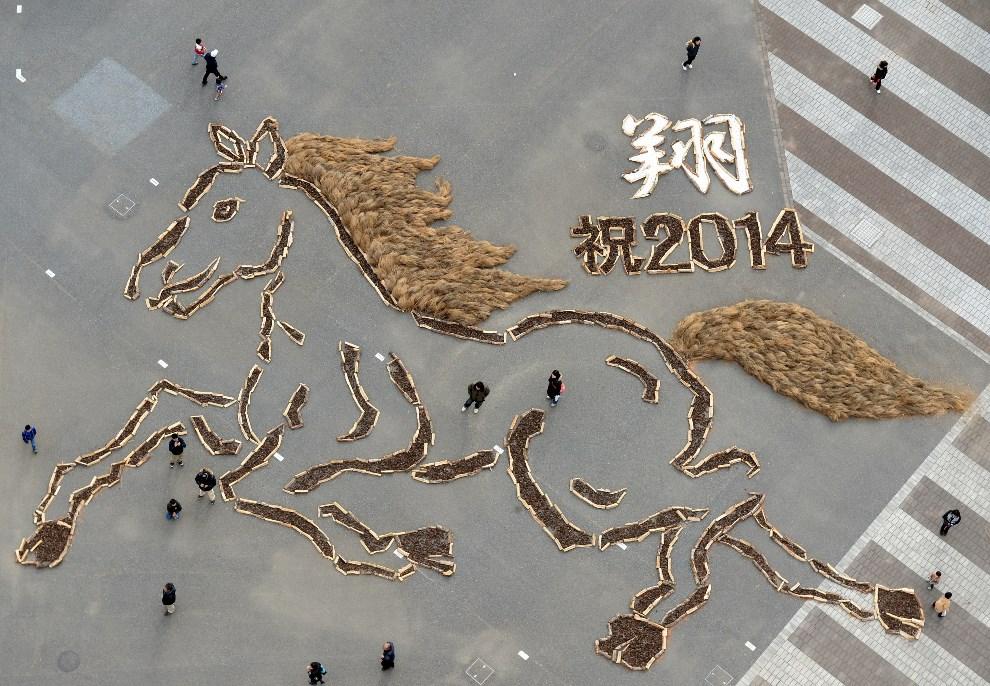 33.JAPONIA, Hitachinaka, 3 stycznia 2014: Wizerunek konia zrobiony z sosnowych szyszek w parku Hitachi. AFP PHOTO / TOSHIFUMI KITAMURA