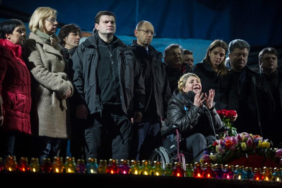 33.UKRAINA, Kijów, 22 lutego 2014: Julia Tymoszenko przemawiająca na wiecu w centrum Kijowa. EPA/ALEXEY FURMAN Dostawca: PAP/EPA.