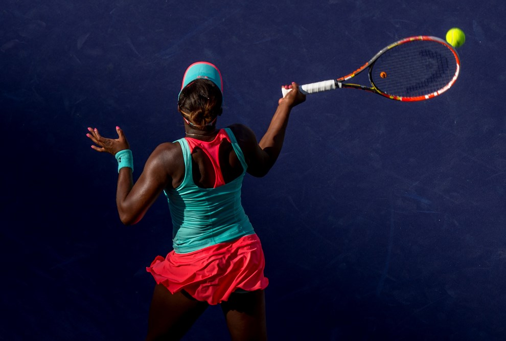 36.USA, Indian Wells, 13 marca 2014: Sloane Stephens podczas meczu z Flavią Pennetta. AFP PHOTO/Joe KLAMAR