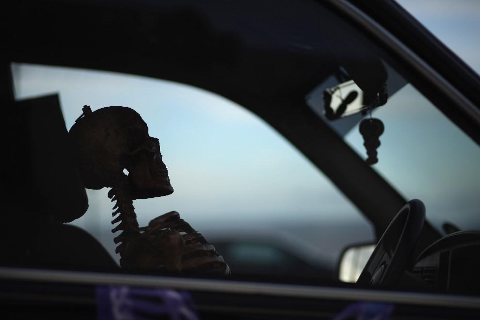 29.WIELKA BRYTANIA, Whitby, 28 kwietnia 2012: Szkielet siedzący na miejscu kierowcy. (Foto: Christopher Furlong/Getty Images)
