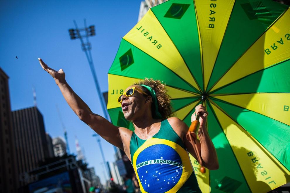 11.BRAZYLIA, Sao Paulo, 4 maja 2014: Uczestnik Gay Pride Parade w Sao Paulo. (Foto: Victor Moriyama/Getty Images)