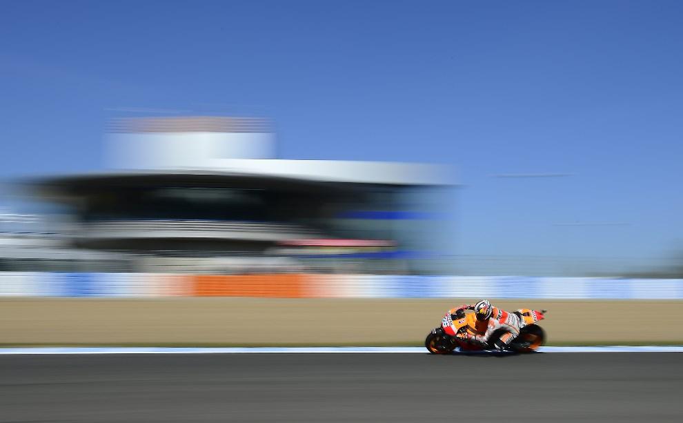 30.HISZPANIA, Jerez de la Frontera, 2 maja 2014: Dani Pedrosa podczas treningu przed Grand Prix Hiszpanii. AFP PHOTO/ JAVIER SORIANO