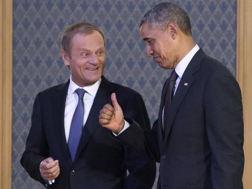 16.POLSKA, Warszawa, 3 czerwca 2014: Barack Obama podczas spotkania z Donaldem Tuskiem. AFP PHOTO / SAUL LOEB