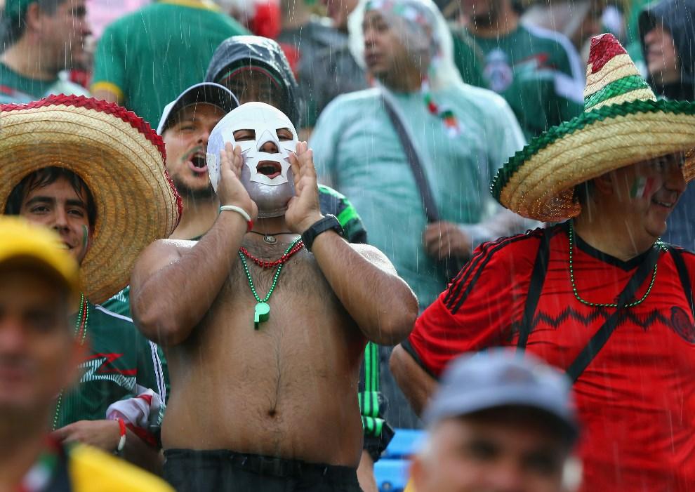 19.BRAZYLIA, Natal, 13 czerwca 2014: Meksykańscy kibice przed meczem z Kamerunem. (Foto: Jamie Squire/Getty Images)