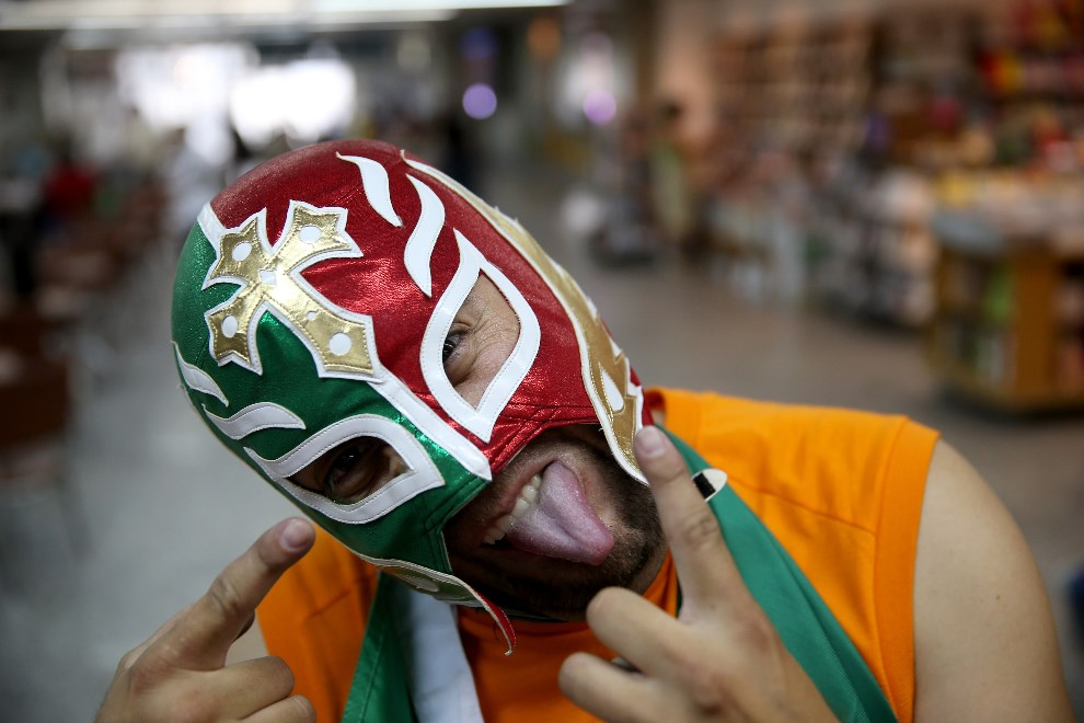 21.BRAZYLIA, Rio de Janeiro, 10 czerwca 2014: Kibic reprezentacji Meksyku. (Foto: Joe Raedle/Getty Images)