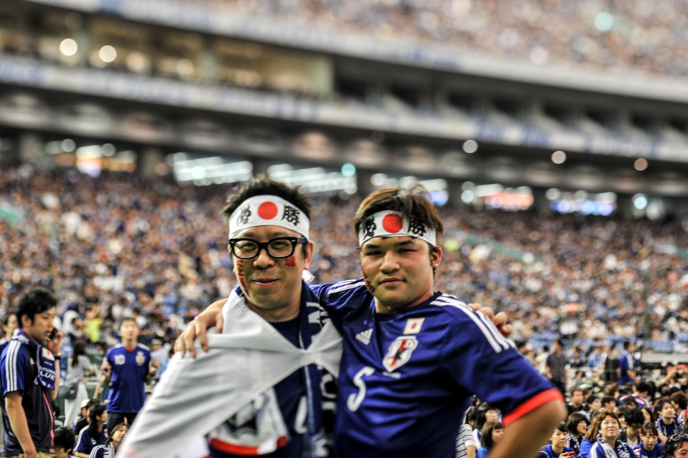 29.JAPONIA, Tokio, 15 czerwca 2014: Japońscy kibice podczas meczu Japonia-WKS. (Foto: Keith Tsuji/Getty Images)