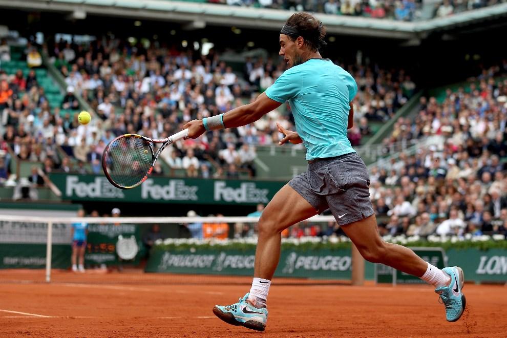 29.FRANCJA, Paryż, 29 maja 2014: Rafael Nadal podczas meczu z Dominiciem Thiem, piątego dnia turnieju. (Foto: Matthew Stockman/Getty Images)