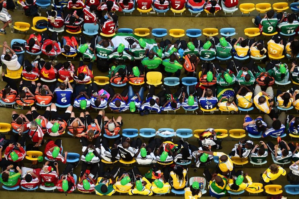 19.BRAZYLIA, Rio de Janeiro, 4 lipca 2014: Kibice na stadionie Maracana. AFP PHOTO / FRANCOIS XAVIER MARIT/POOL