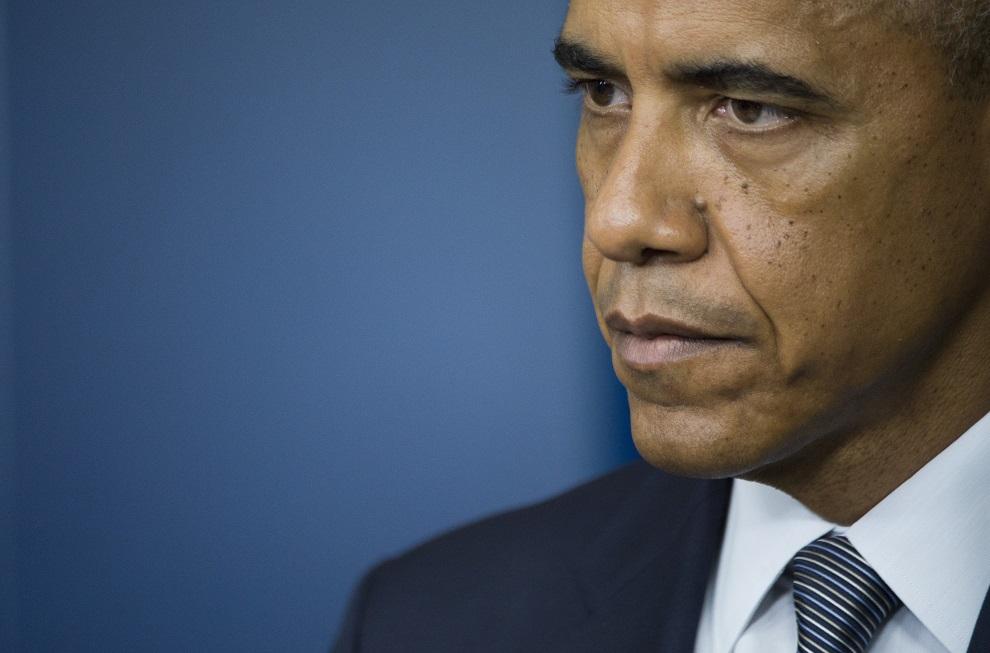 31.USA, Waszyngton, 18 lipca 2014: Barack Obama podczas konferencji prasowej, kiedy poinformował o zestrzeleniu samolotu. AFP PHOTO / Jim WATSON