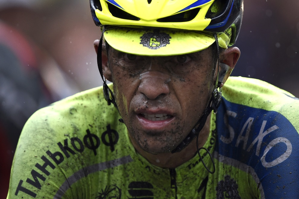 8.FRANCJA, Wallers, 9 lipca 2014: Hiszpan Alberto Contador na mecie kolejnego z etapów TDF. AFP PHOTO / LIONEL BONAVENTURE